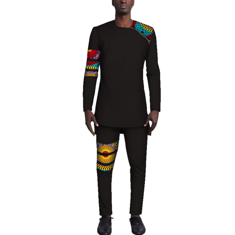 Casual-Mens-African-Clothing-Bazin-Riche-Patchwork-Top-Shirt-and-Pants-for-Men-Custom-100-Cotton(19)