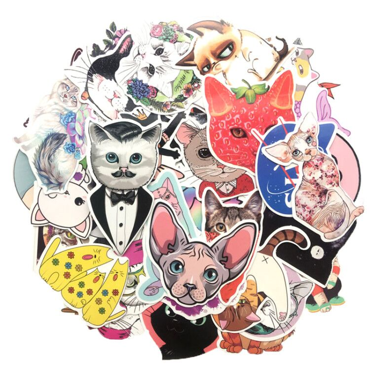 HOT 50 Pcs/lot Kawaii Cat Stickers Cartoon Animal Waterproof Sticker Kids Toys Gift For Laptop Suitcase Scrapbooking Car Sicker