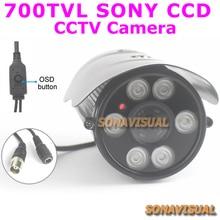 ¡ CALIENTE! cáscara del metal a prueba de agua sony ccd 700TVL 960 H CCTV Cámara de visión nocturna de cámaras de seguridad con el botón de menú Inicio Vigilancia