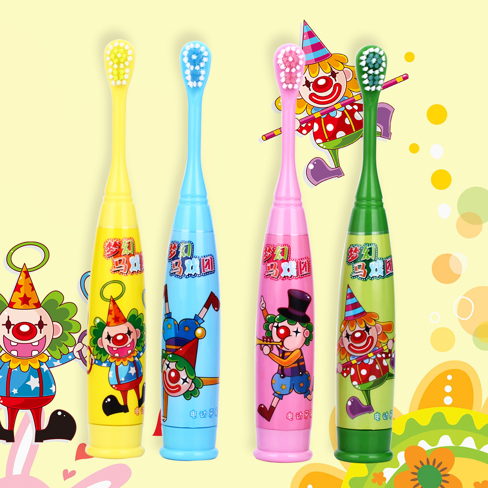 Children Cartoon Electric Toothbrush Kids Soft Bristle Ultrasonic Electric Teeth Brush Tooth Brush Denture Oral Hygiene ckeyin cartoon dolphin children music electric toothbrush led tooth brush 22000 min kids sonic toothbrush electric 3 brush heads