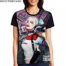 ФОТО secutoryang women suicide squad 3d t shirt harley quinn joker anime t-shirts female summer tops short sleeve o-neck ladies tees