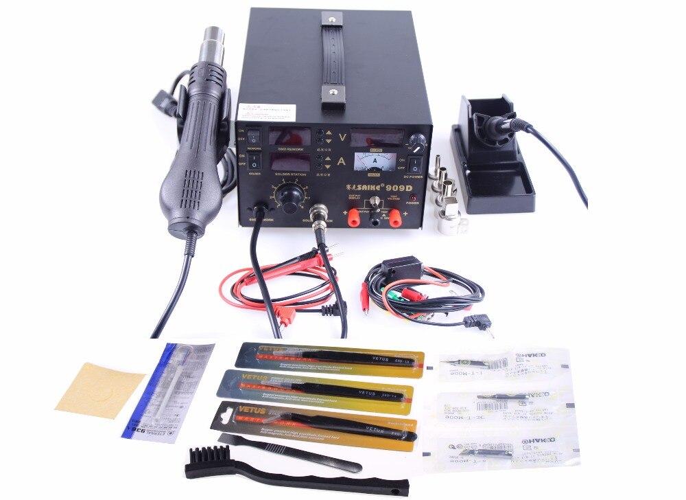 SAIKE 909D 220V Or 110V Upgrade 3 In 1 Hot Air Gun Rework Station Soldering Station Dc Power Supply+gifts