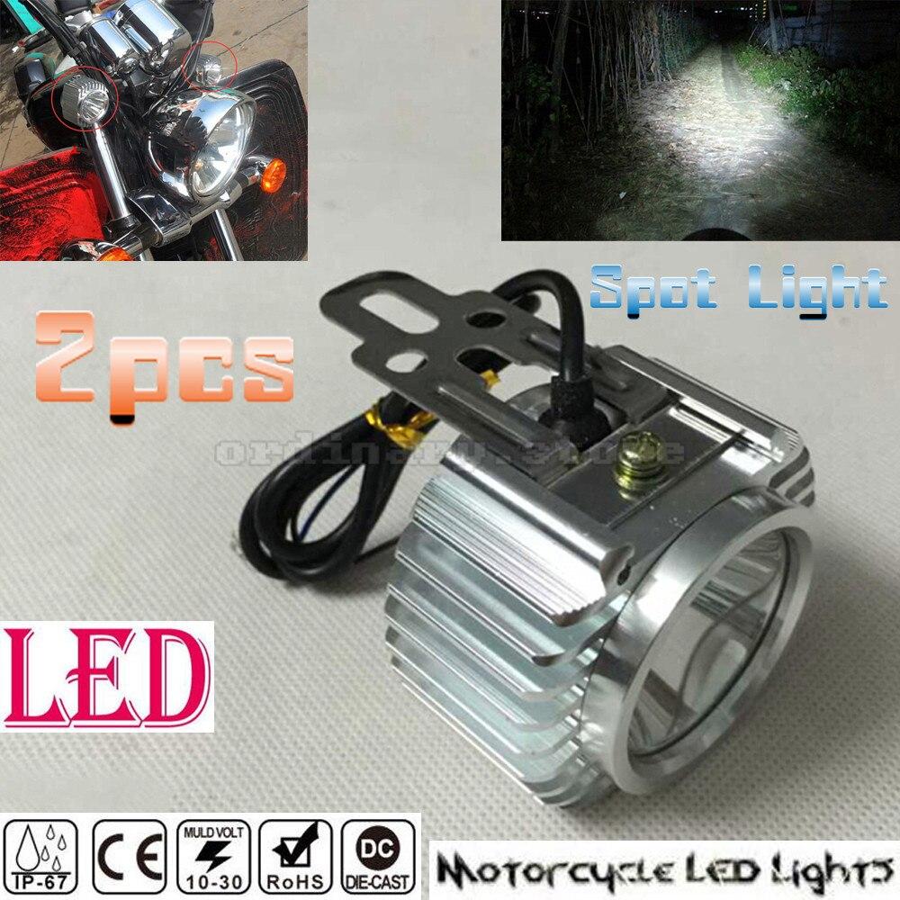 2 pz Super Luminoso Chrome Bici Elettrica Del Motociclo HA CONDOTTO il Faro di Guida Nebbia del Punto di Lavoro Del Faro Riflettore Testa Lampada Della Luce di Notte