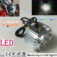 2 PCS Super Bright Chrome Electric Motor Bike Motorcycle LED Headlight Driving Fog Spot Work Headlamp