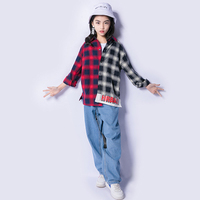 Hip Hop Costumes For Girls Stitching Plaid Shirt Jeans Boys Street Dance Clothing Kids Hiphop Stage Performing Clothes DNV10633