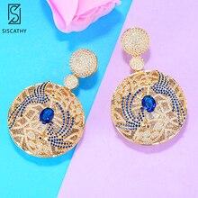 Siscathy New Luxury Leaf Drop Flower Full Micro Paved Cubic Zirconia Earrings Wedding Party Earrings for Women Fashion Jewelry цена и фото