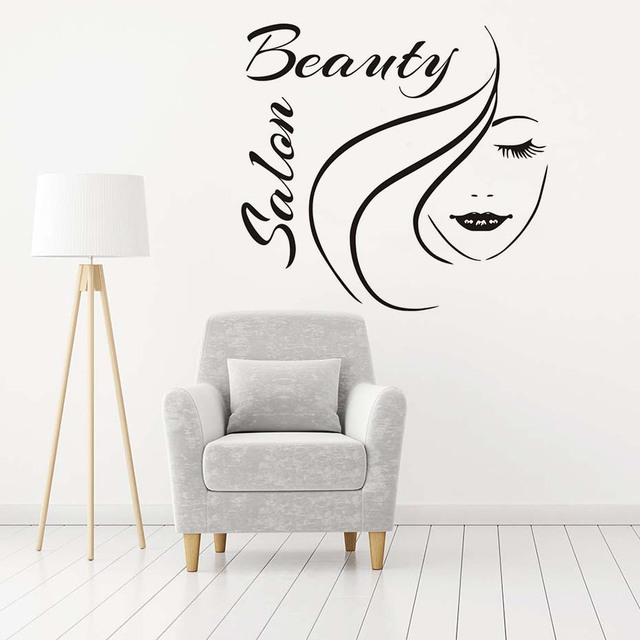 beauty salon wall decals girl's face outline sofa background wall