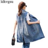 Women Long Denim Vest Coat 2018 New Spring Autumn Fashion Vintage Washed Sleeveless Jeans Jacket Waistcoat Big Size Femme Is176