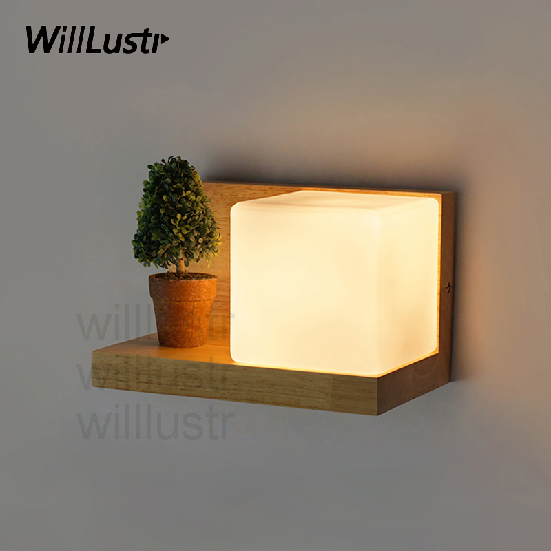 Willlustr Cubi Wall sconce glass Lamp hotel restaurant doorway porch vanity lighting novelty wood shelf cubic Modern light