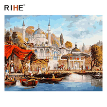 RIHE Palace Beach DIY Painting By Numbers Kit, Framed Paint By Numbers on Canvas, Modern Wall Art Picture, Acrylic Paint 40x50cm rihe exquisite rose flowers framed oil painting by numbers coloring by numbers modern wall art picture home decoration 40x50cm