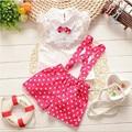 Conjuntos de roupas meninas do bebê verão roupa de Natal newyear BibiCola chiffon xadrez t-shirt + macacão calça meninas do bebê roupas conjunto
