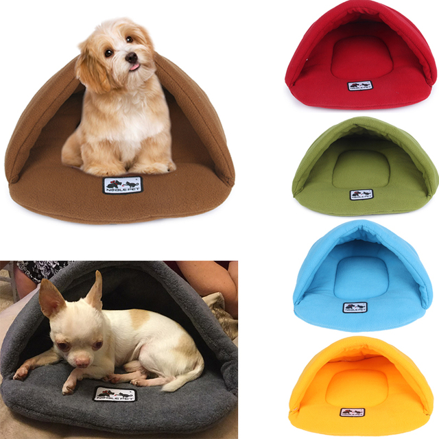 6 Colors Soft Polar Fleece Dog Beds Winter Warm Pet Heated Mat Small Dog Puppy Kennel House for Cats Sleeping Bag Nest Cave Bed 1