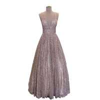 Vestito Da Sera lungo 2018 Glitter A line Scollo a v Senza Maniche Stile Arabo Donne Abiti Da Sera Formale dress