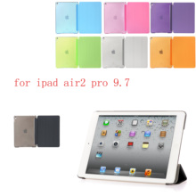 PC Leather Siamese Case for Apple iPadair2 pro 9.7 Fashion Smart Cover + translucent back A1566`A1567`A1673`A1674
