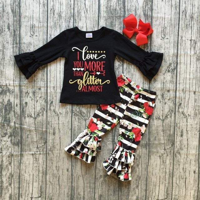 Fall Baby Girls Valentines Day Clothes Girls I Love U More Than Glitter Almost Print Black