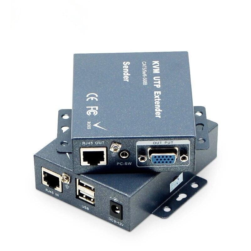 Extension KVM VGA haute qualité 200 m/660ft sans perte de retard sur le clavier et la souris de Support de câble Cat5/5e/6 et Audio stéréo