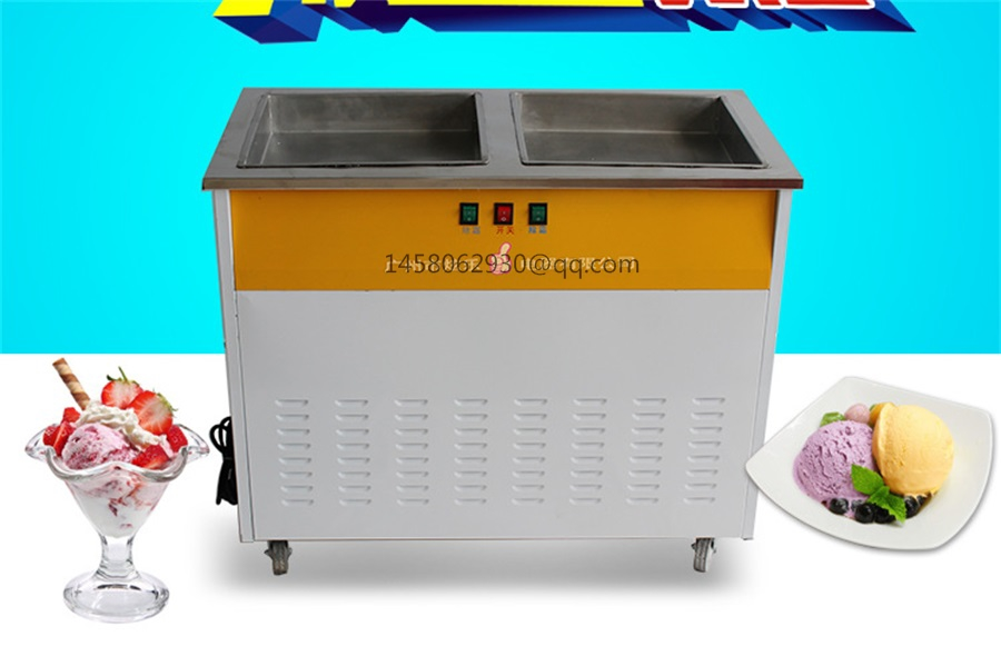 Hot Sale China Thailand Double 2 Flat square Pan Roll Fry Fried Ice Cream Machine hot sale china thailand double 2 flat pan roll fry fried ice cream machine with two compressor