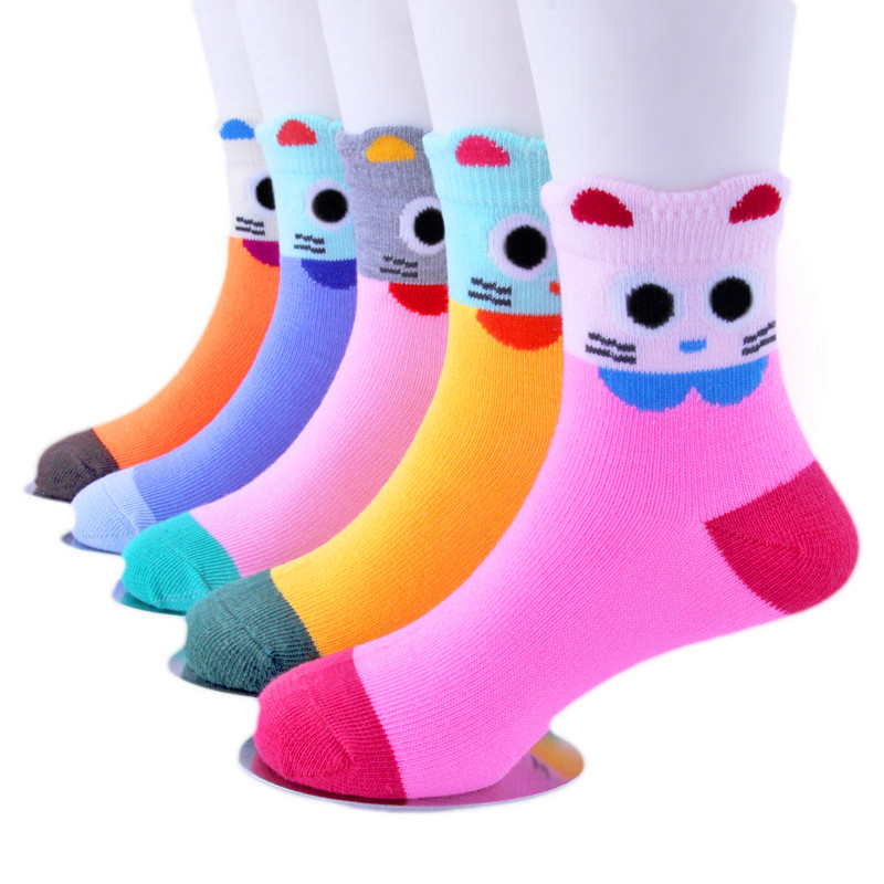 5Pairs/Lot Cartoon Baby Socks Autumn And Winter Children Sock Breathable Cotton Kid Socks For Boys Girls  Socks 1-12 Years