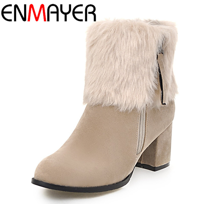 ФОТО ENMAYER Large Size 34-43 Ankle Boots for Women High Heels Zippers Winter Warm Snow Boots Fur Charms Classic Black Platform Shoes
