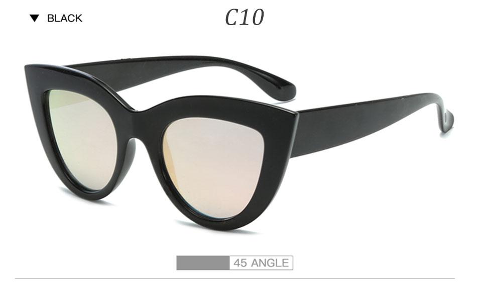 Black Classic Cat Eye Women Sunglasses Designer Brand Trend Style Glasses Adult Eyeglasses 11