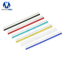 10Pcs DIY Elektronik Kit Satu Baris 40Pin 2.54 Mm Bulat Perempuan PIN HEADER Hitam Merah Biru Kuning Putih hijau 40P DIP 40(China)