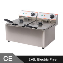 12L Electric Commercial Deep Fryer Double Tank Double Basket Stainless Steel Bench Top