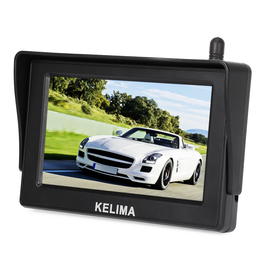 KELIMA 088 Wireless Car 18 IR LEDs Rearview Camera + 4.3 inch Screen Display Color LCD Car Monitor Parking Backup Monitor System