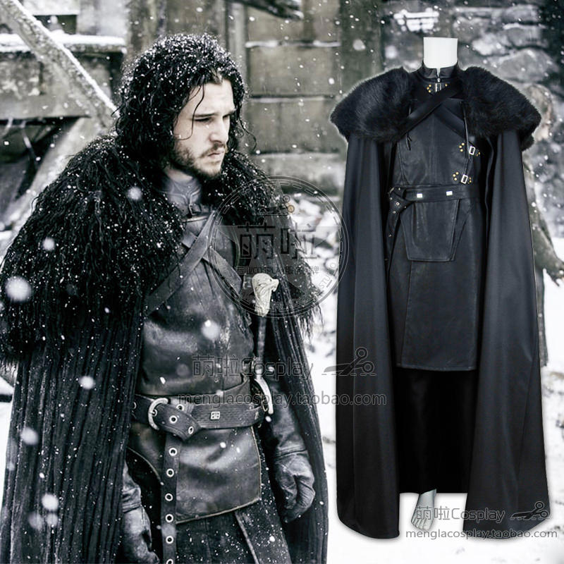 Jon Snow Night's montre Costume pour Game of Thrones Cosplay uniforme combinaison tenues Costume Halloween fête expédition rapide