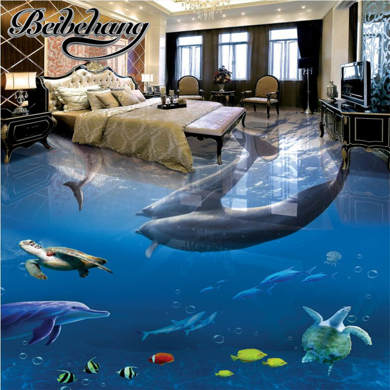 beibehang Floor Custom 3D Bathroom Floor Wallpaper Underwater World Dolphin Waterproof 3D Floor Fresco Photo Wallpaper Wall 3d