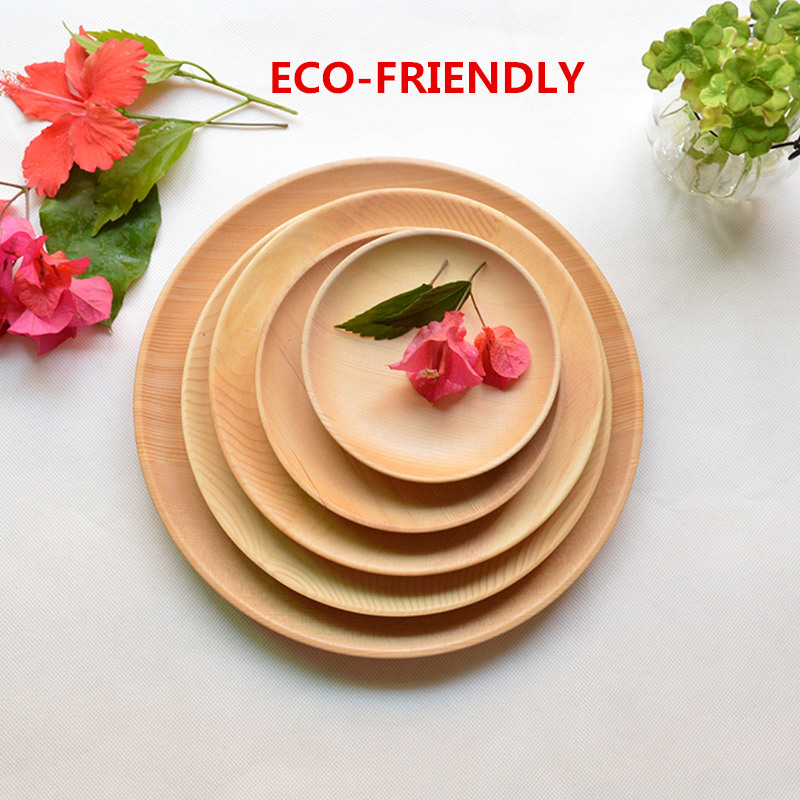 Kulatý dřevěný večeře Plate Party Servírovací miska Malé nádobí Dortová deska Dřevo Stolní nádobí Kuchyňské doplňky Japonský styl