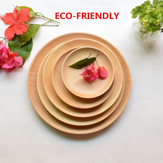 Round Wooden Dinner Plate Party Serving Tray Small Dishes Cake Plate Fir Wood Tableware Kitchen Accessories & Round Wooden Dinner Plate Party Serving Tray Small Dishes Cake Plate ...