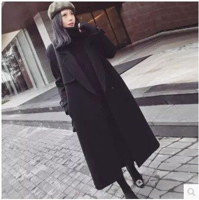 Pardessus de genou nouveau modèle coréen costume-robe et hiver Long fonds double face lourd tissu de laine épaississement lâche manteau femme