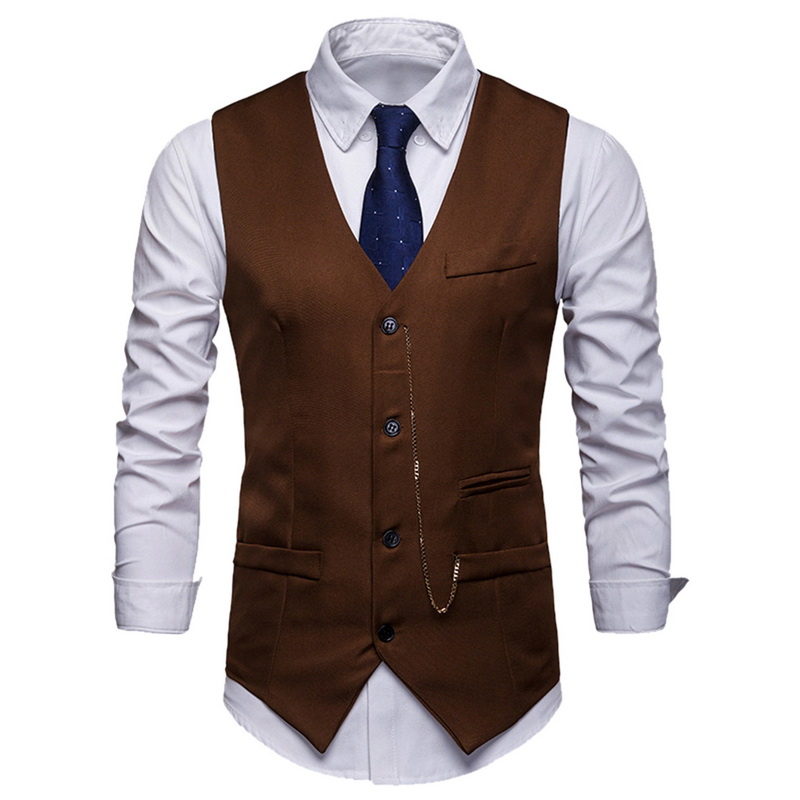 LASPERAL Vest Waistcoat Men Vintage Solid Formal Dress Business Wedding Suit Vest Fashion Sleeveless Single Breasted Waistcoat