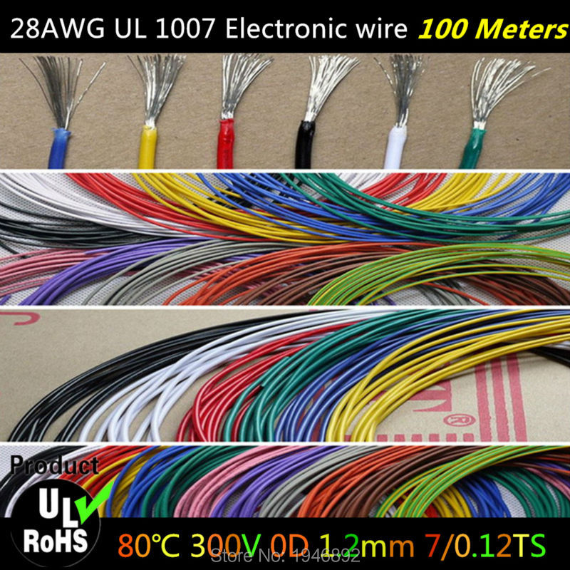 100Meters/lot Flexible Stranded of 28AWG 10 Colors UL1007 Diameter 1.2mm Environmental Electronic Wire To Internal Wiring