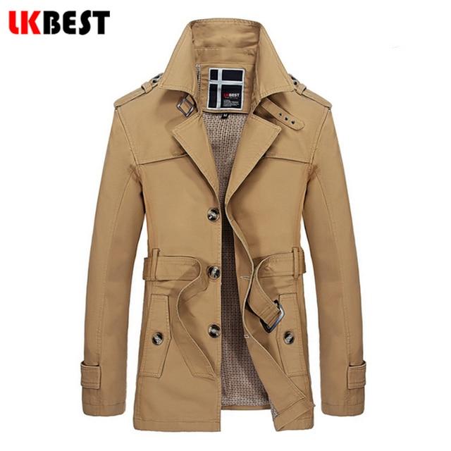 Lkbest 2017 chegada nova homens jaqueta de inverno longo fino inverno trincheira plus size famosa marca dos homens de forma magro jaqueta casaco (FY13)