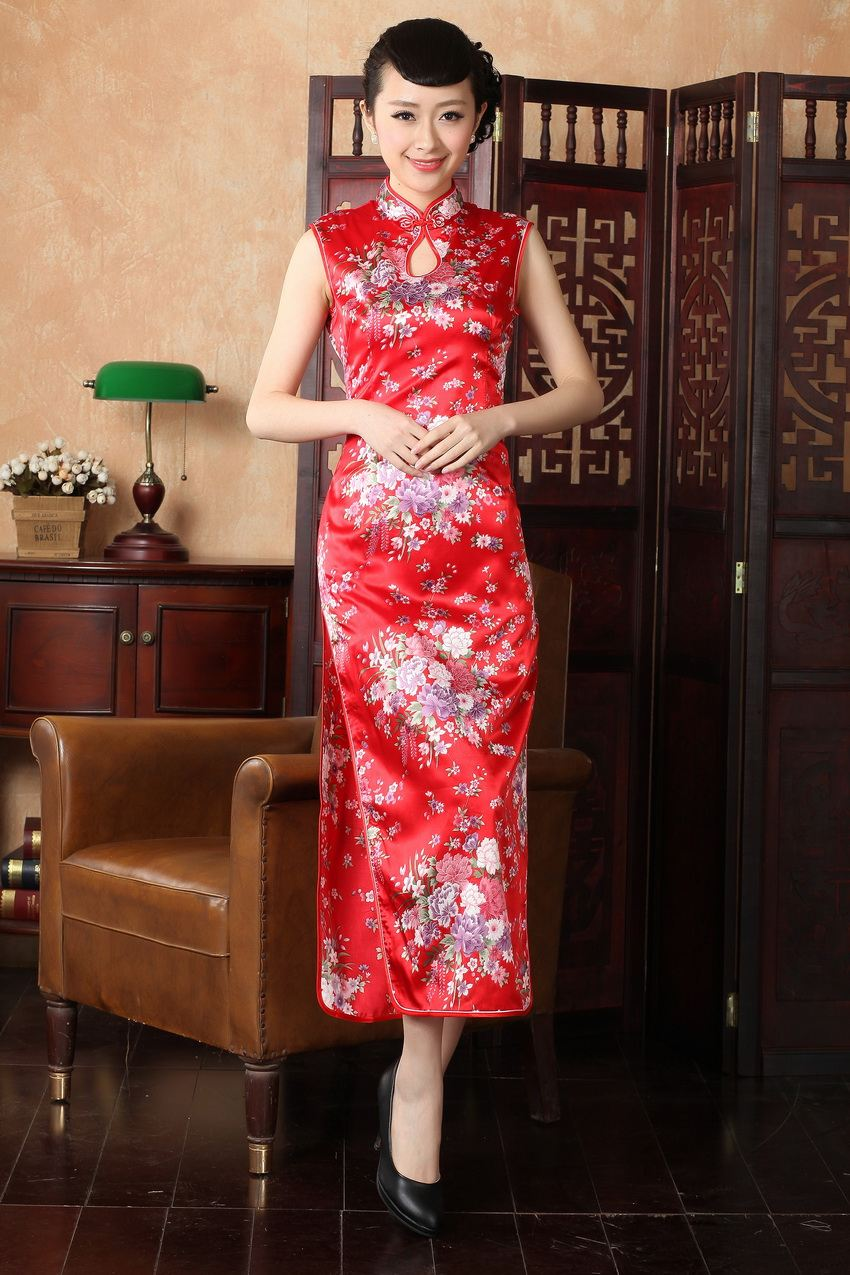 Summer Stylish Red Chinese Lady Silk Rayon Cheongsam Girl Print Floral Long Qipao Novelty Evening Dress