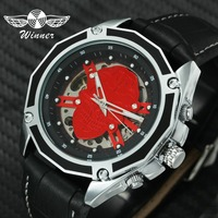 WINNER Fashion Cool Auto Mechanical Watch Men Steampunk 3D Skull Skeleton Dial Leather Strap Wrist Watches Gift for Halloween