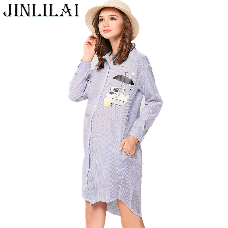 JINLILAI 2017 Long Sleeve pregnancy Maternity Clothes Autumn And Winter Fashion Stripe Cartoon Printing Dress For Pregnant Women maternity dresses in autumn and winter long sleeve turtleneck clothes for pregnant women pregnancy clothing 2017 autumn q41