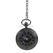 Retro Vintage Antique Steampunk Black Quartz Safety Pin Chain Pocket Watch Gift Watch
