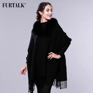 Image 4 - FURTALK Cashmere Wool Scarf Pashmina Cashmere Fur Shawl Women Real Fox Fur Collar Winter Long Warm Fur Scarf Raccoon Fur Shawl