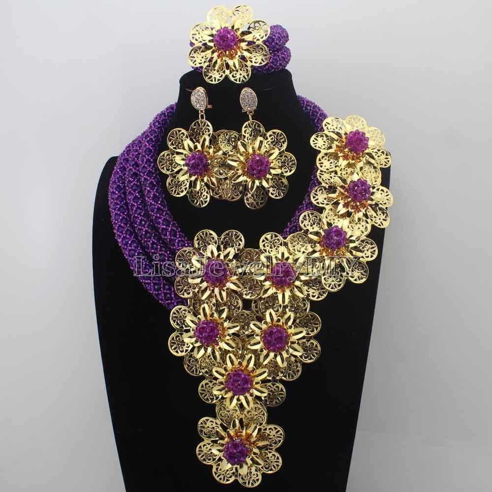 Splendid Purple Crystal Statement Necklace Set Wedding African Purple Beads Flower Jewelry Set for Women Free Shipping HD8741