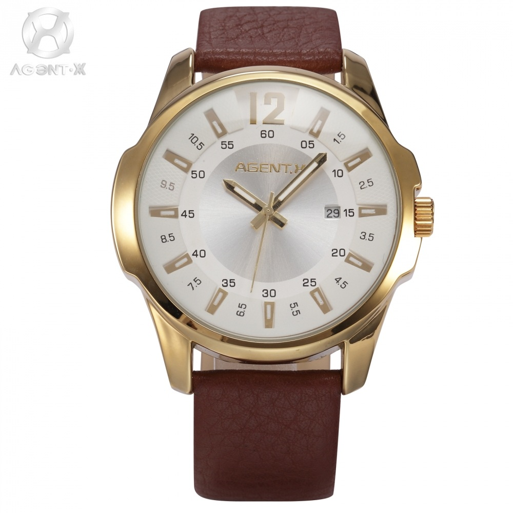 compare prices on x men watches online shopping buy low price x brand agentx relogio stainless steel case white day real coffee leather band wristwatches clock male quartz
