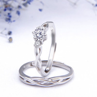 WYJZY 2 piece set sterling silver couple open ring women's fashion wedding engagement ring Valentine's Day gift