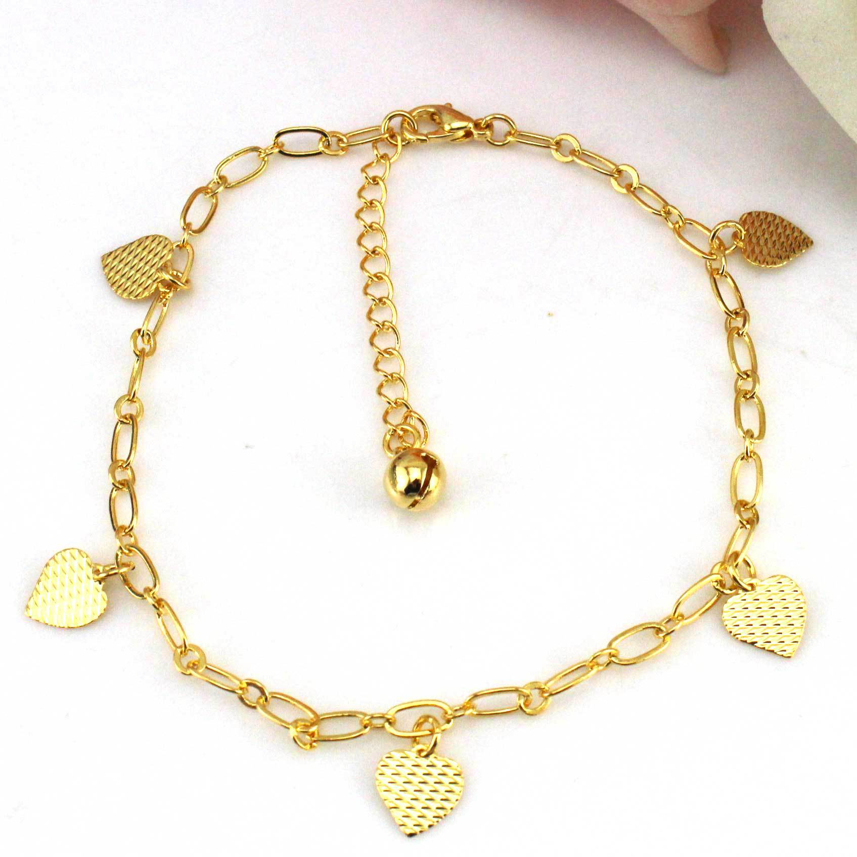 plated of chain stainless new with bracelets made gold itm ankle steel rose charm charms bracelet heart foot anklet