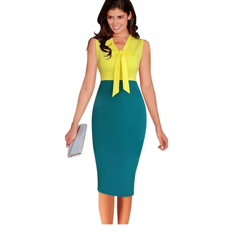 US $19.98 15% OFF|Plus size Lady Elegant V Neck Sleeve Bowknot Belt Special  Occasions Jacket Print Stretch Work Pencil Dress Vestidos G27-in Dresses ...