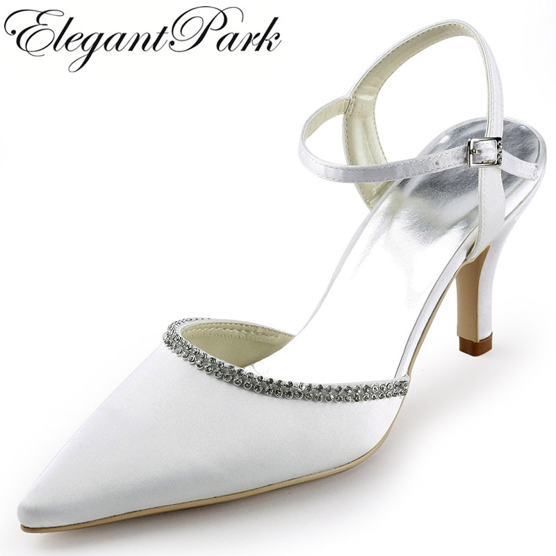 Woman wedding shoes high heels bridal White Ivory Pointy toe Rhinestones satin lady bridesmaids prom evening pumps EP11115 woman ivory high heels wedding shoes pointed toe satin bride bridesmaids bridal prom evening party pumps hc1603 navy blue teal