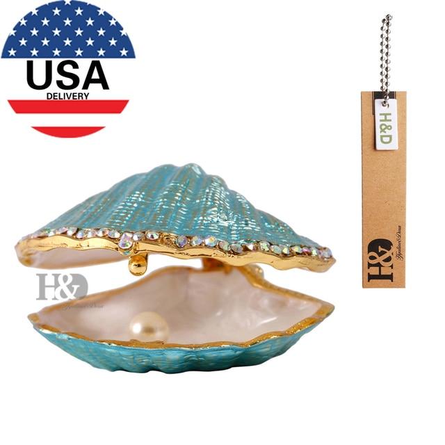 H D 1 6 Pearl Mussel Wedding Trinket Box Enameled Ring Jewelry Display Storage Case