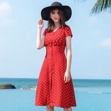 AcFirst Summer Lanon Women Red Chiffon A-Line Dress V Neck Evening Party Dots Lady Holiday Sexy Plus Size Sweet Dresses