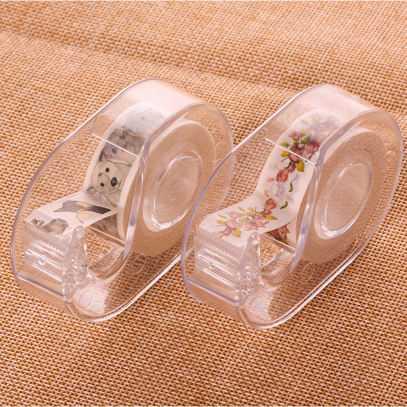 15mm Transparent Masking Tape Dispenser Cutter Holder Japanese Stationery DIY Washi Tape Storage Organizer Cutter Supplies