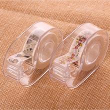 15mm Transparent masking Tape Dispenser Cutter Holder Japanese stationery DIY Washi Storage Organizer Supplies